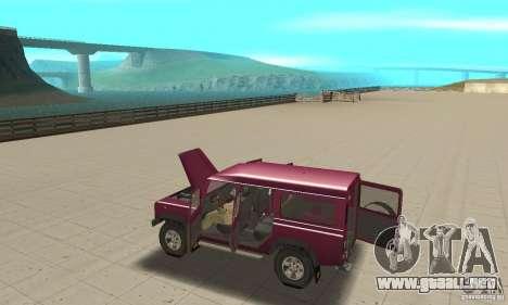 Land Rover Defender 110SW para visión interna GTA San Andreas