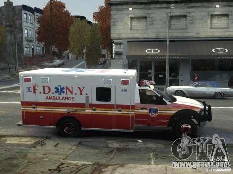 Ford F-350 Ambulance FDNY para GTA 4 vista hacia atrás
