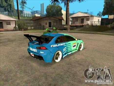Mitsubishi Evo X Falken para la visión correcta GTA San Andreas