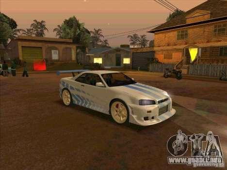 Nissan Skyline GT-R R34 2 Fast 2 Furious para la visión correcta GTA San Andreas