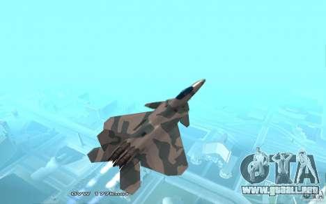 F/A-22 Velociraptor para GTA San Andreas vista posterior izquierda