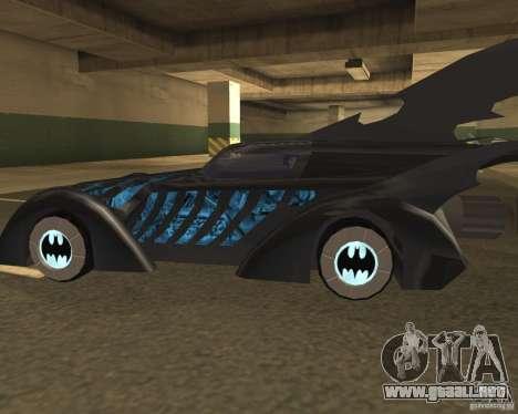Batmobile 1995 para GTA San Andreas vista posterior izquierda