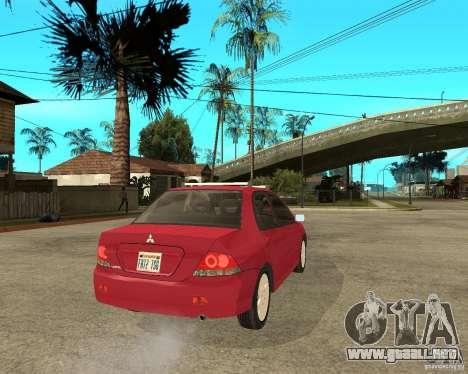 Mitsubishi Lancer 2005 para GTA San Andreas vista posterior izquierda