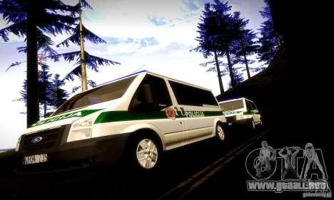 Ford Transit Policija para GTA San Andreas vista hacia atrás