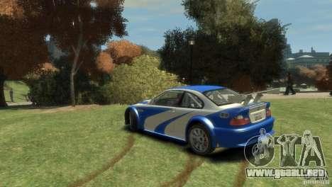 BMW M3 GTR NFS MOST WANTED para GTA 4 Vista posterior izquierda