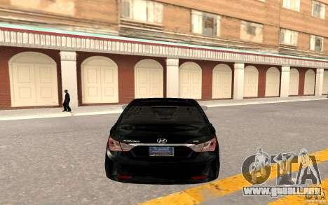 Hyundai Sonata 2012 para GTA San Andreas vista hacia atrás