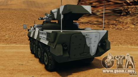 Stryker M1128 Mobile Gun System v1.0 para GTA 4 Vista posterior izquierda