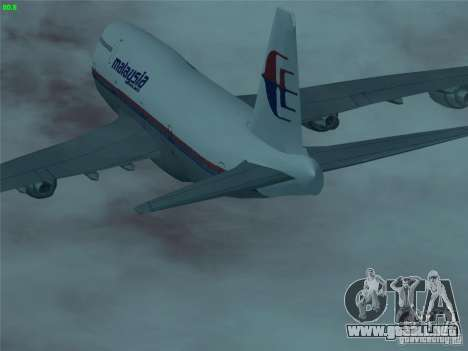 Boeing 747-400 Malaysia Airlines para la vista superior GTA San Andreas