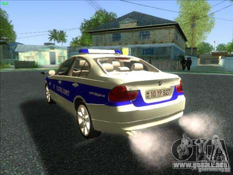 BMW 330i YPX para GTA San Andreas vista posterior izquierda