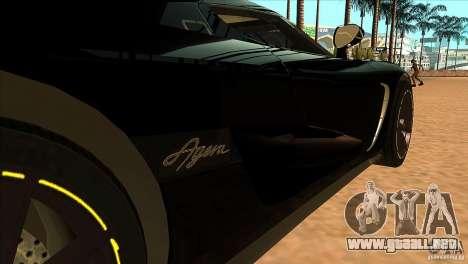 Koenigsegg Agera 2010 para visión interna GTA San Andreas