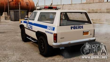 Policía ranchero ELS para GTA 4 Vista posterior izquierda