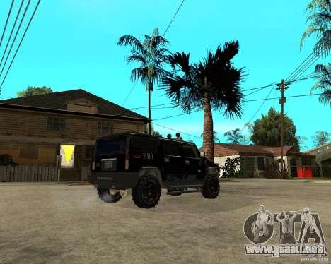 FBI Hummer H2 para GTA San Andreas vista hacia atrás