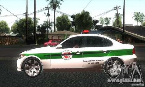 BMW 330 E90 Policija para GTA San Andreas left