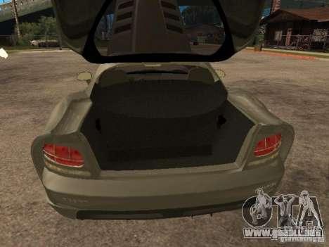 Dodge Viper Coupe 2008 para GTA San Andreas vista hacia atrás