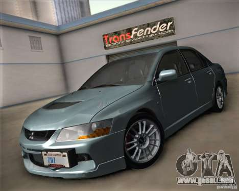Mitsubishi Lancer Evolution IX Tunable para GTA San Andreas vista hacia atrás