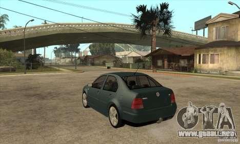 Volkswagen Bora-Golf para GTA San Andreas vista posterior izquierda