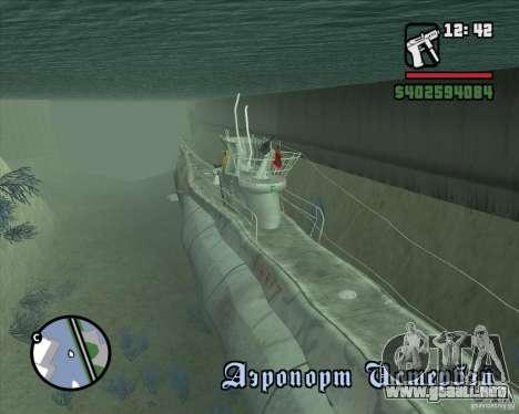U99 German Submarine para GTA San Andreas segunda pantalla