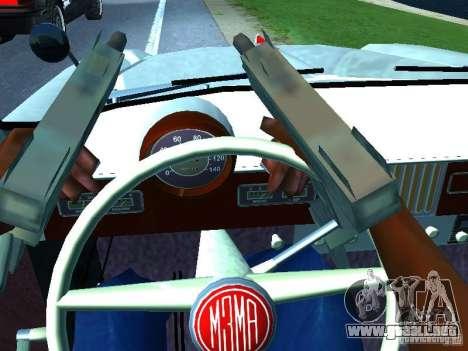Moskvitch 403 con policía para vista lateral GTA San Andreas