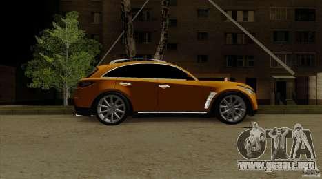 Infiniti FX37 v1 para GTA San Andreas vista posterior izquierda