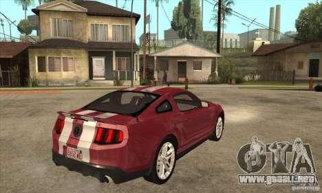 Shelby GT500 2010 para la visión correcta GTA San Andreas