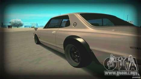 Nissan Skyline 2000GT-R JDM Style para GTA San Andreas vista posterior izquierda
