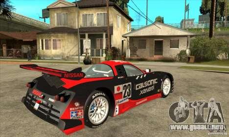 Nissan R390 GT1 1998 v1.0.0 para GTA San Andreas vista hacia atrás