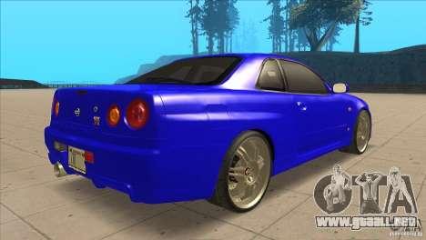 Nissan Skyline R34 FNF4 para la visión correcta GTA San Andreas