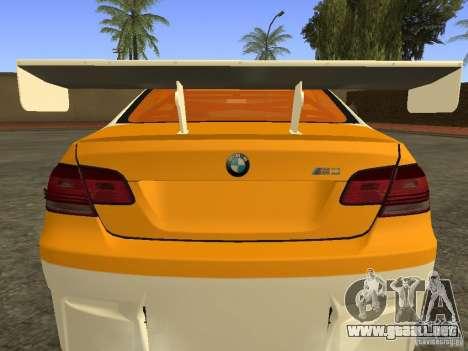 BMW M3 E92 DriftRoots para GTA San Andreas vista posterior izquierda