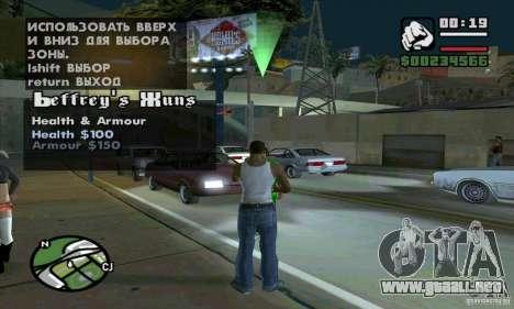 Gun Seller para GTA San Andreas sucesivamente de pantalla