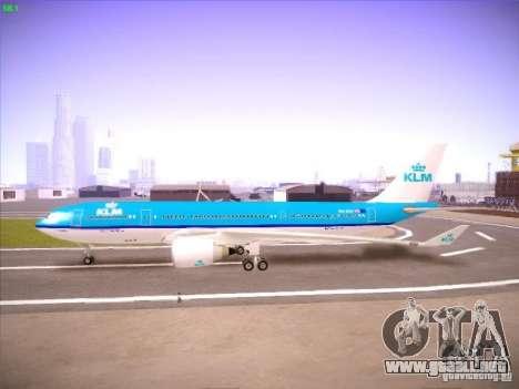 Airbus A330-200 KLM Royal Dutch Airlines para GTA San Andreas vista hacia atrás