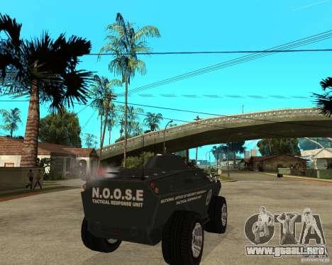 La APC de GTA IV para GTA San Andreas vista posterior izquierda