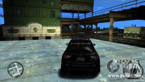 Subaru Impreza WRX STI Police para GTA 4 vista hacia atrás