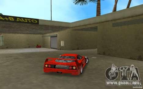 Ferrari F40 para GTA Vice City vista posterior