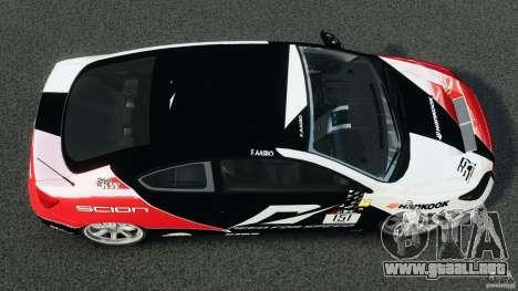 Scion TC Fredric Aasbo Team NFS para GTA 4 visión correcta