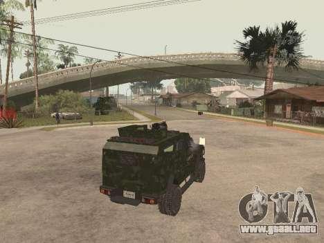 Oshkosh SandCat of Mexican Army para GTA San Andreas vista posterior izquierda