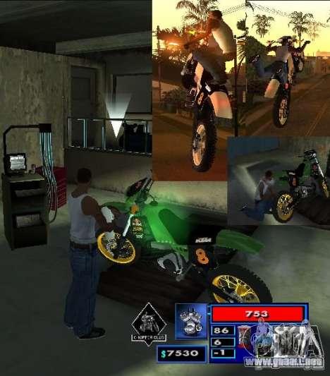 El guión de CLEO: Mototûning y Freestyle Motocro para GTA San Andreas segunda pantalla