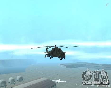 Mi-24P para GTA San Andreas vista hacia atrás