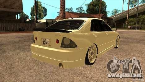 Toyota Altezza RS200 JDM Style para la visión correcta GTA San Andreas