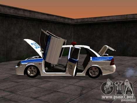 LADA 2170 policía para GTA San Andreas vista hacia atrás