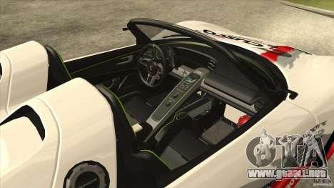 Porsche 918 Spyder Consept para visión interna GTA San Andreas