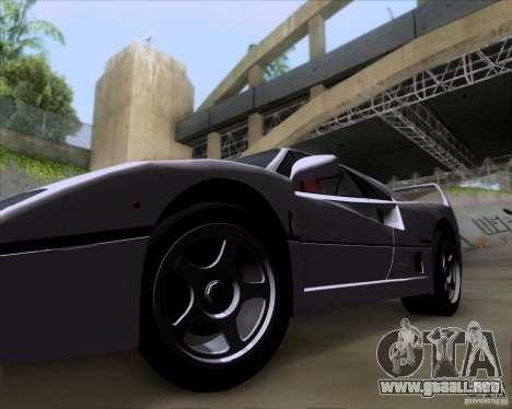 Ferrari F40 para GTA San Andreas vista hacia atrás
