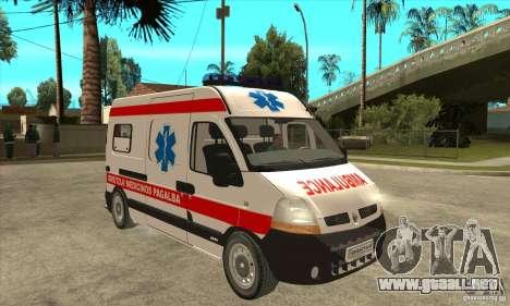 Renault Master Ambulance para GTA San Andreas vista hacia atrás