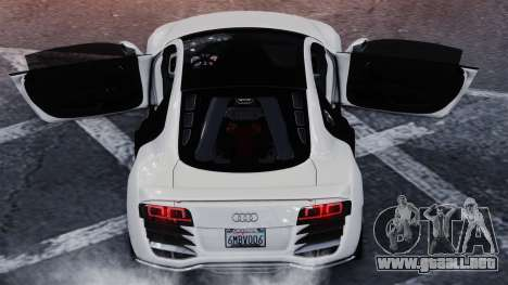 Audi R8 LeMans para GTA 4 Vista posterior izquierda