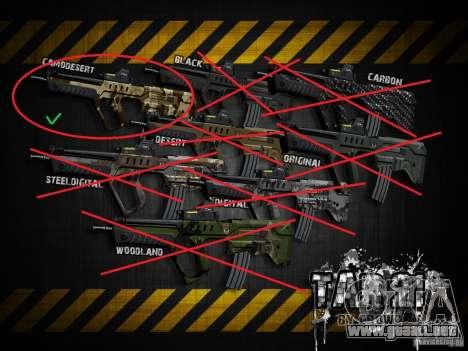 Tavor Tar-21 Camodesert para GTA San Andreas sucesivamente de pantalla