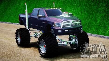 Dodge Ram 3500 2010 Monster Bigfut para GTA 4 vista hacia atrás