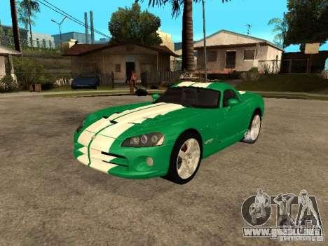 Dodge Viper Coupe 2008 para la vista superior GTA San Andreas