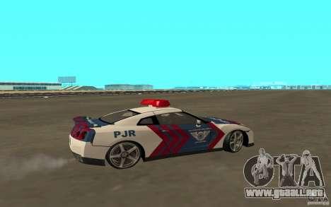 Nissan GT-R R35 Indonesia Police para GTA San Andreas vista posterior izquierda