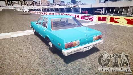 Dodge Aspen v1.1 1979 yellow rear turn signals para GTA 4 Vista posterior izquierda