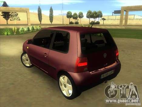 Volkswagen Lupo para GTA San Andreas vista posterior izquierda