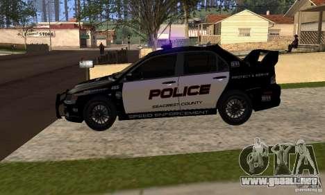 Mitsubishi Lancer Evo VIII MR Police para la visión correcta GTA San Andreas